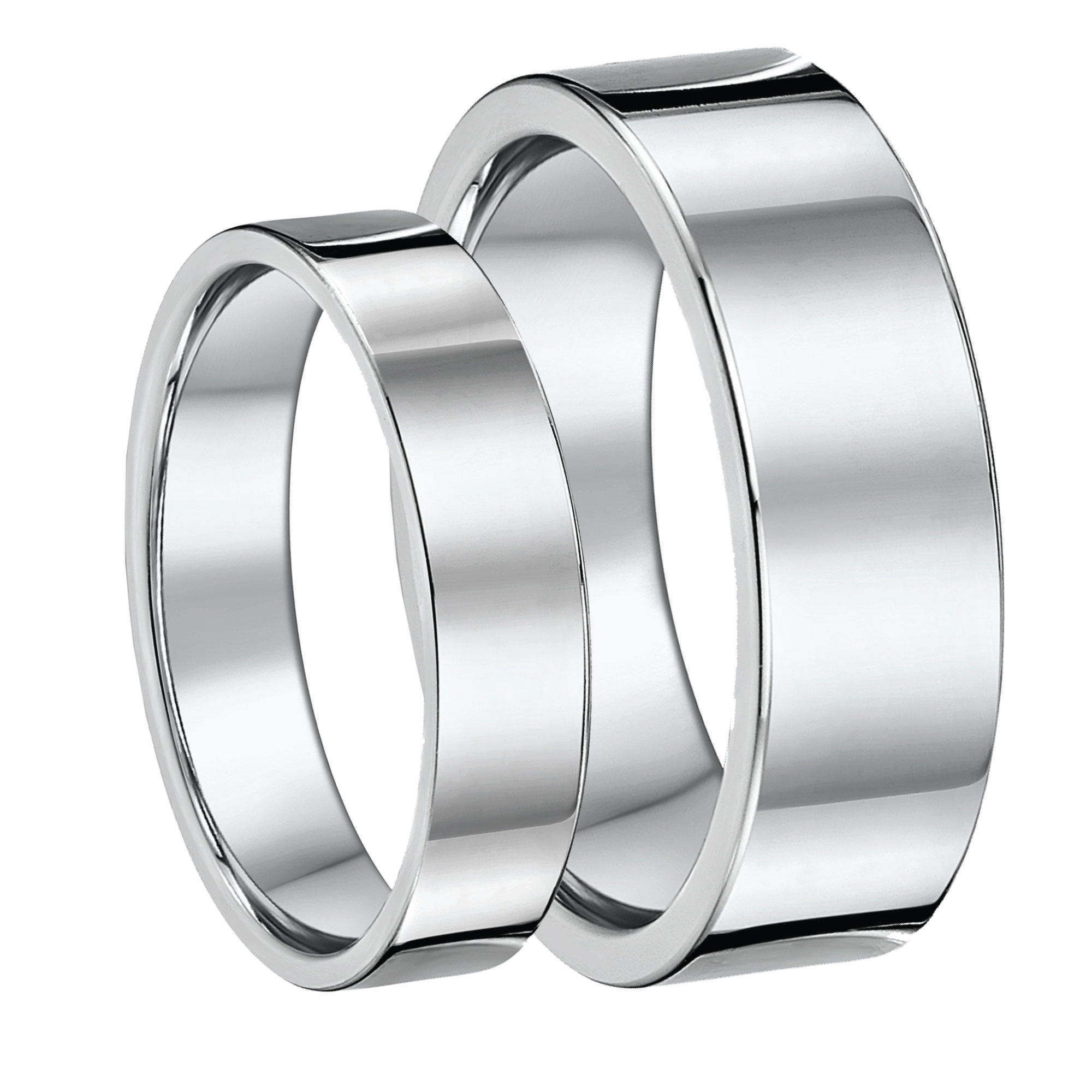 His & Hers Flat Court Titanium Wedding Rings 5&7mm