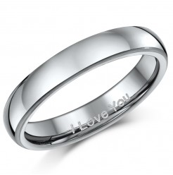 "4mm Titanium Court Shaped Ring Engraved ""I Love You"""