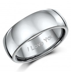 "8mm Titanium Court Shaped Ring Engraved ""I Love You"""