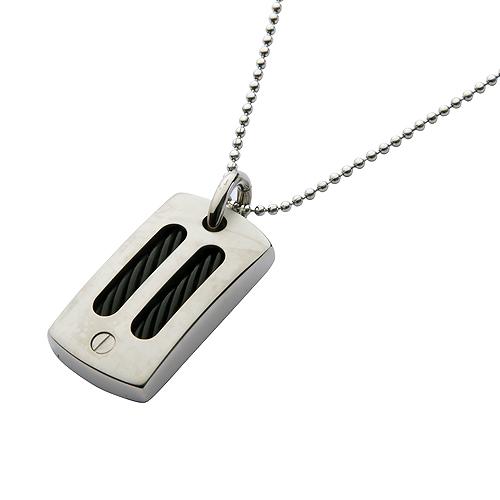 Mens Titanium Black Cable Dog Tag Necklace