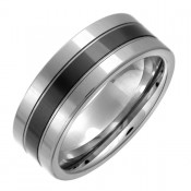 8mm Mens Tungsten & Ceramic Wedding Ring Band
