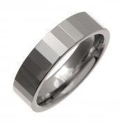 6mm Tungsten Polished Ring Heavyweight Faceted Band