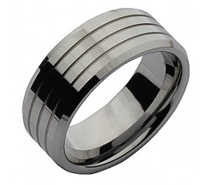 9mm Tungsten Grooved Wedding Ring Band
