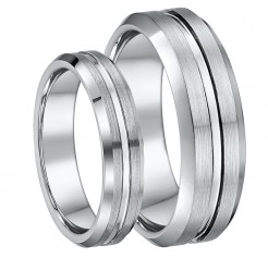 His & Hers 5mm & 7mm Tungsten Wedding Ring Set