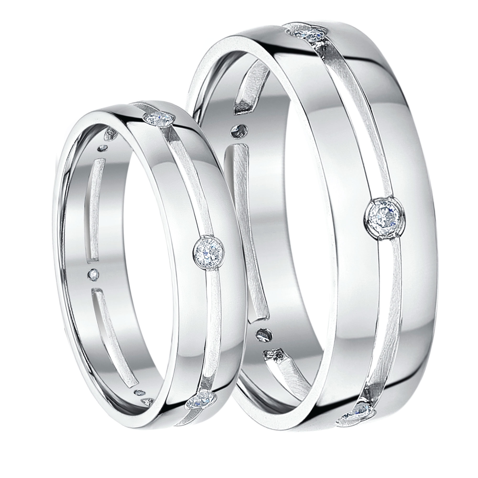 His & Hers 5&6mm 9ct White Gold Diamond Wedding Rings