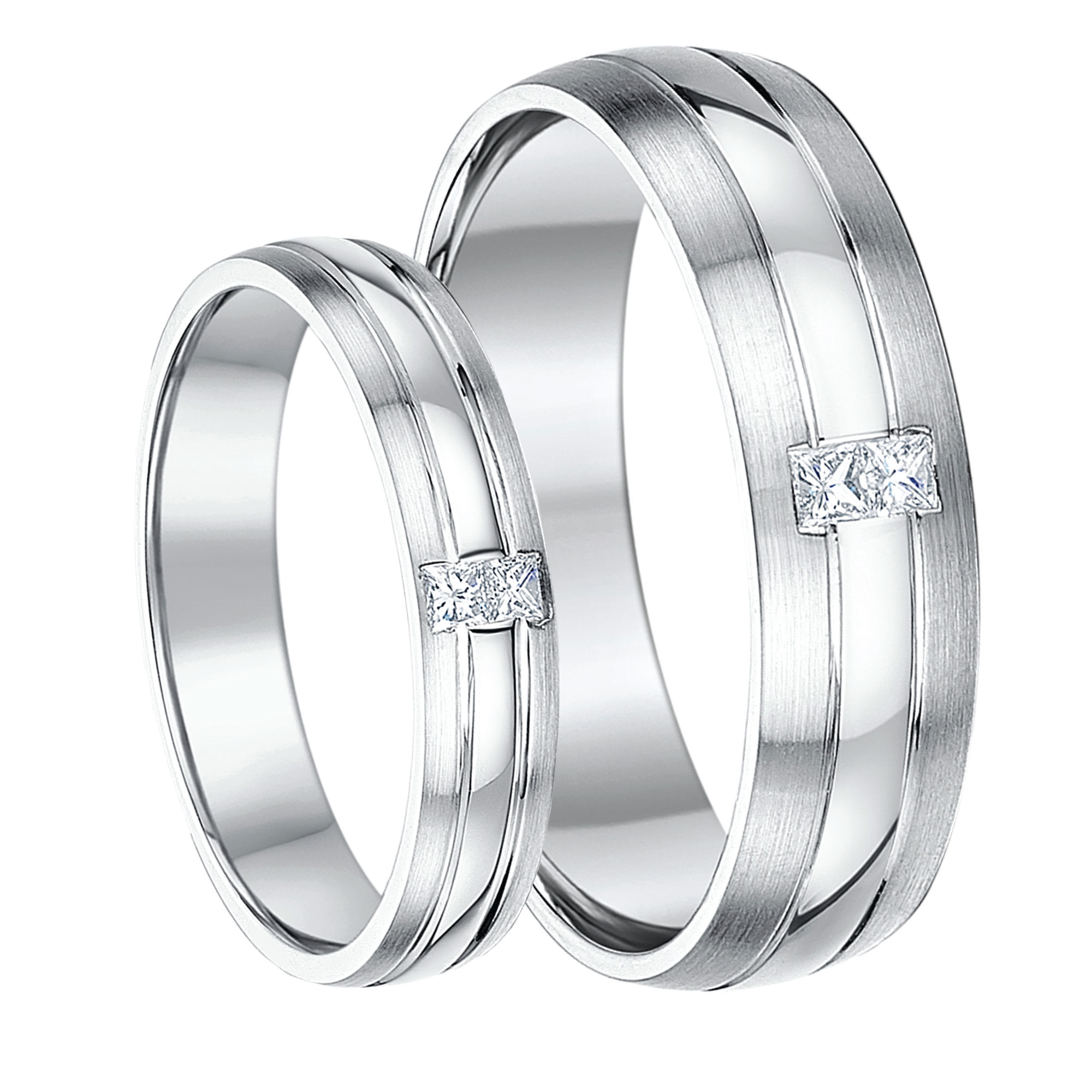 his hers 46mm 9ct gold princess cut diamond wedding rings - White Gold Wedding Ring
