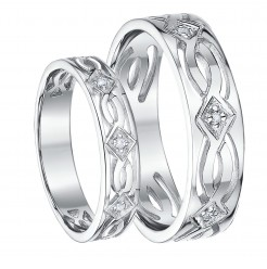 His & Hers 5&6mm 9ct White Gold Celtic Diamond Wedding Ring