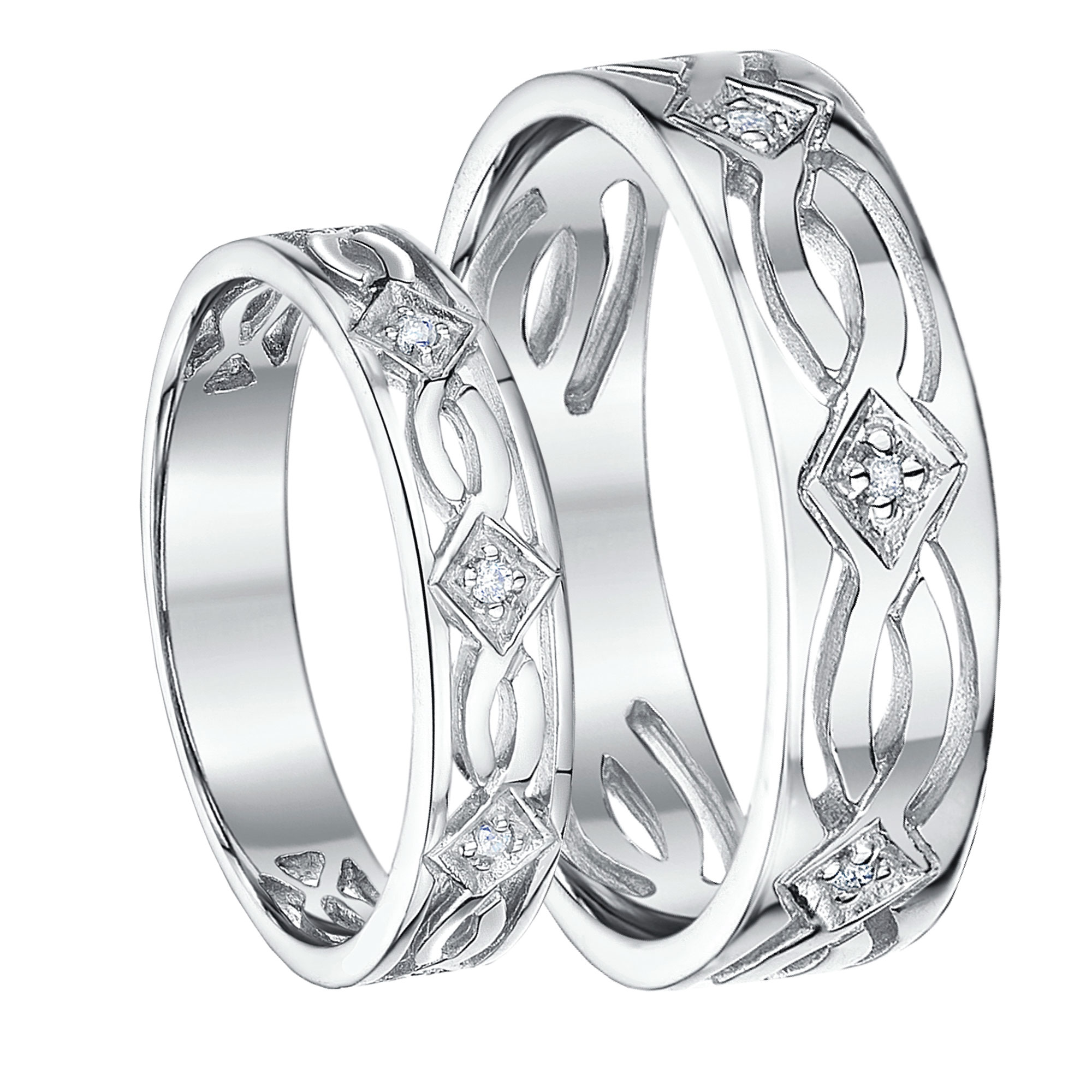 His & Hers 5&6mm 9ct White Gold Celtic Diamond Wedding