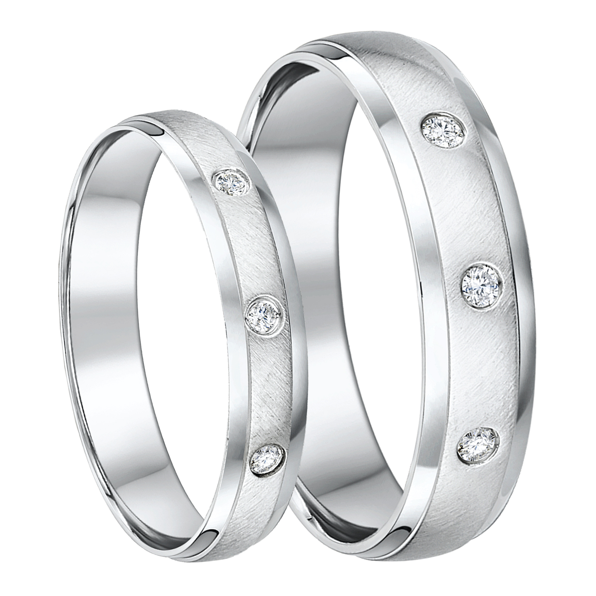 His & Hers 4&5mm 9ct White Gold Diamond Wedding Rings