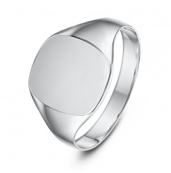 Sterling Silver Cushion Shape Ladies Signet Ring
