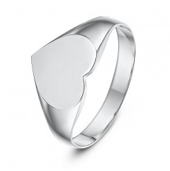 Sterling Silver heart Shape Ladies Signet Ring