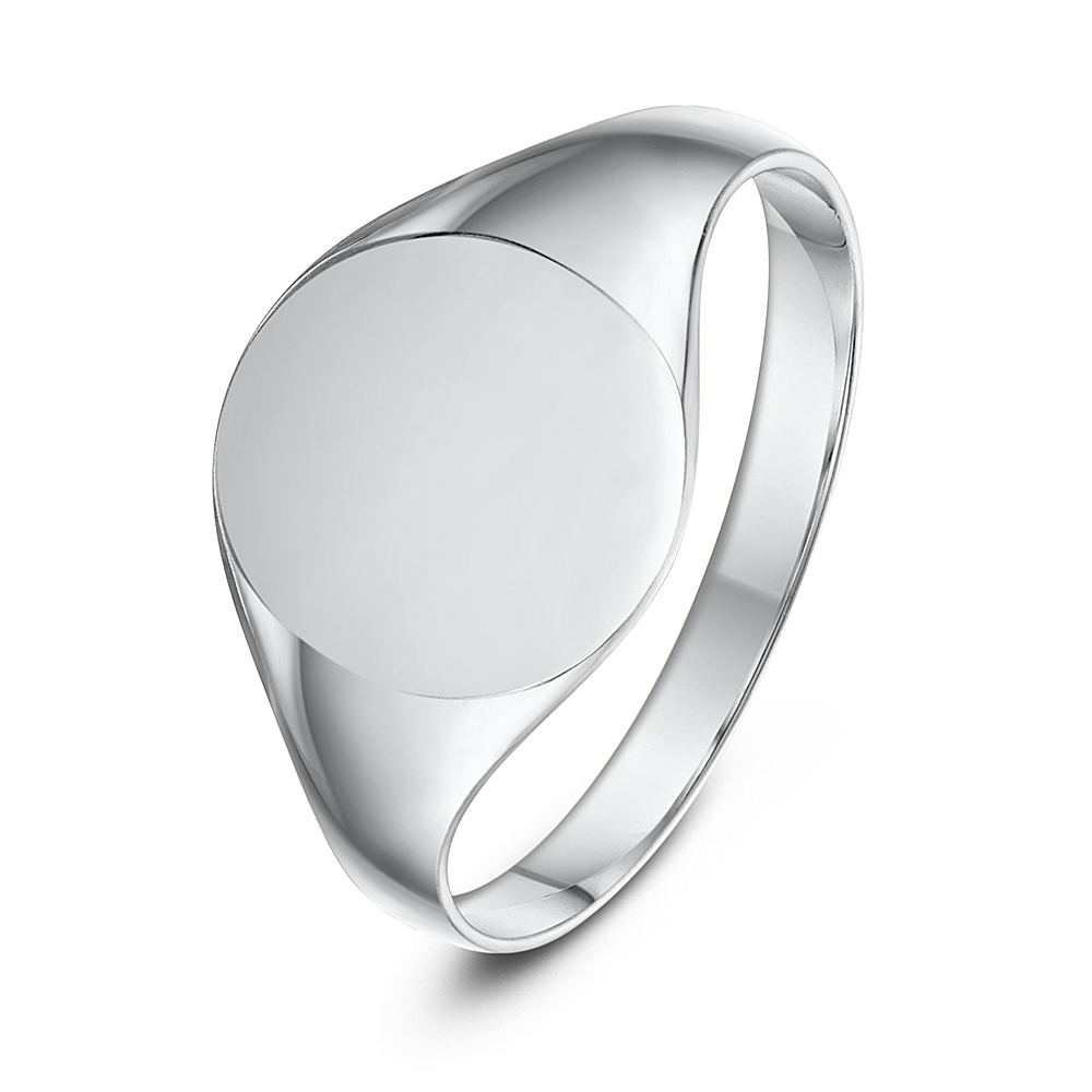 Sterling Silver Oval Shape Ladies Signet Ring