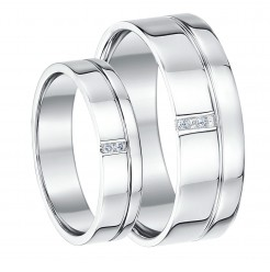 His & Hers 5&7mm 9ct White Gold Diamond Wedding Rings