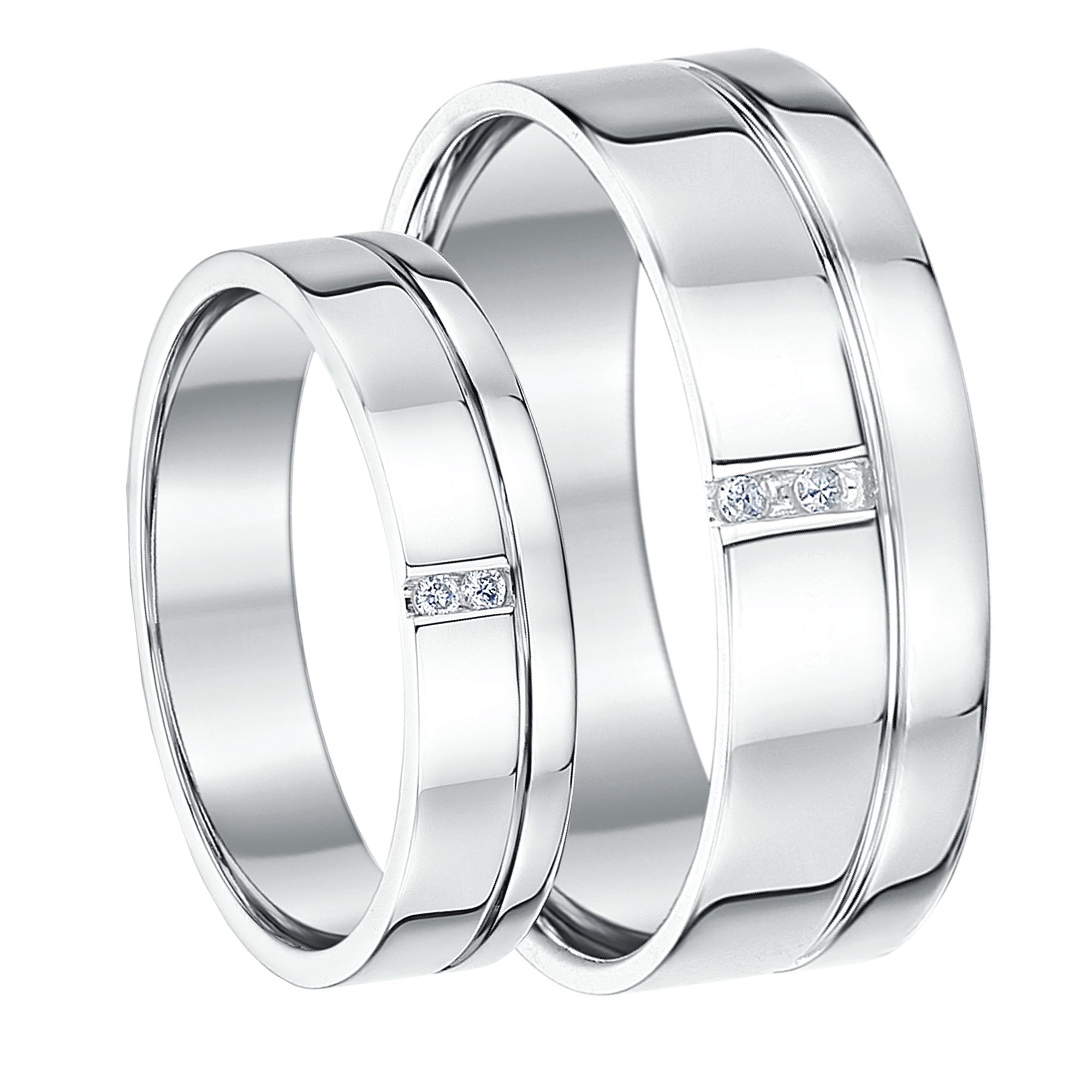 His & Hers White Gold Wedding Rings Matching Sets For Groom and Bride