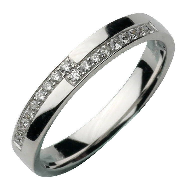 3mm 18ct White Gold Diamond Ring Eternity Set 18pt Ring