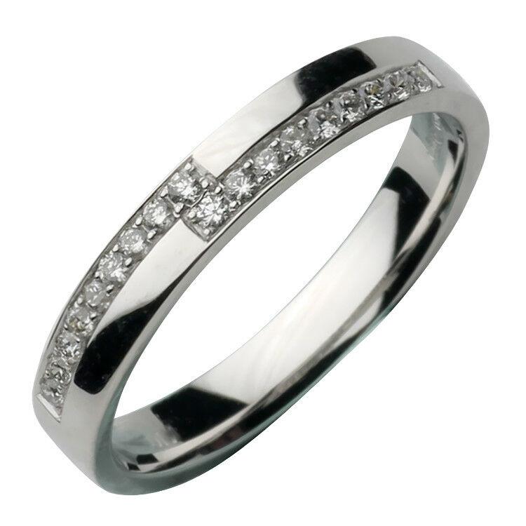 3mm 18ct White Gold Diamond Ring Eternity Set 18pt Ring
