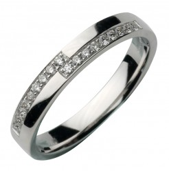 3mm 18ct White Gold Diamond Ring Set Wedding Band