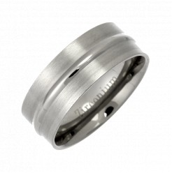 8mm Zirconium Patterned Matt & Polished Wedding Band