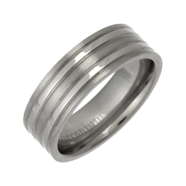 7mm Patterned Zirconium Matt & Polished Wedding Ring Band
