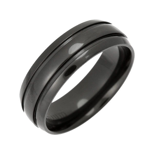 7mm Black Zirconium Patterned Wedding Ring Band