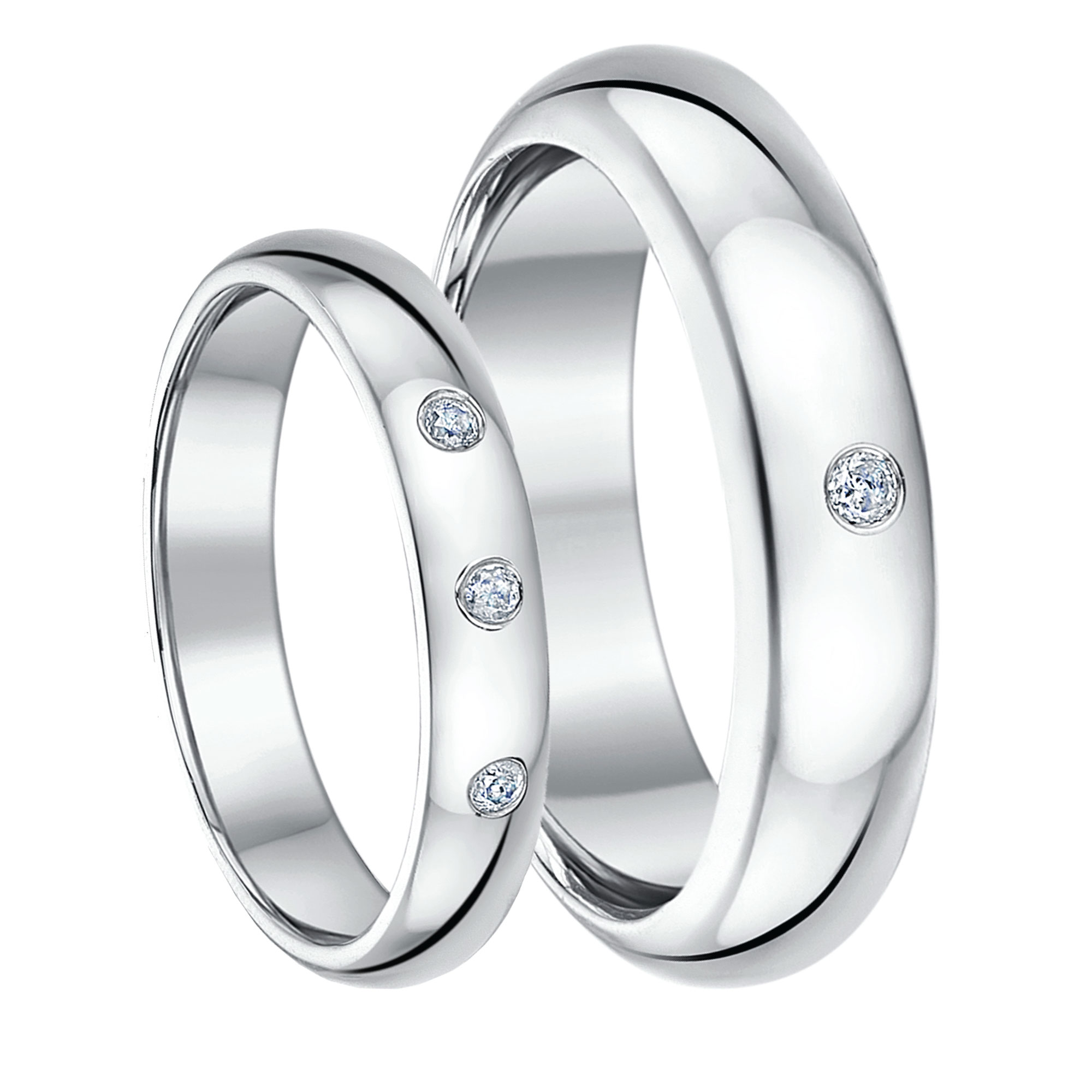 His & Hers 4&6mm 9ct Hollow White Gold Court Diamond Rings