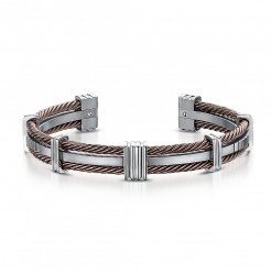 Men's Titanium & Brown Cable Cuff Bangle