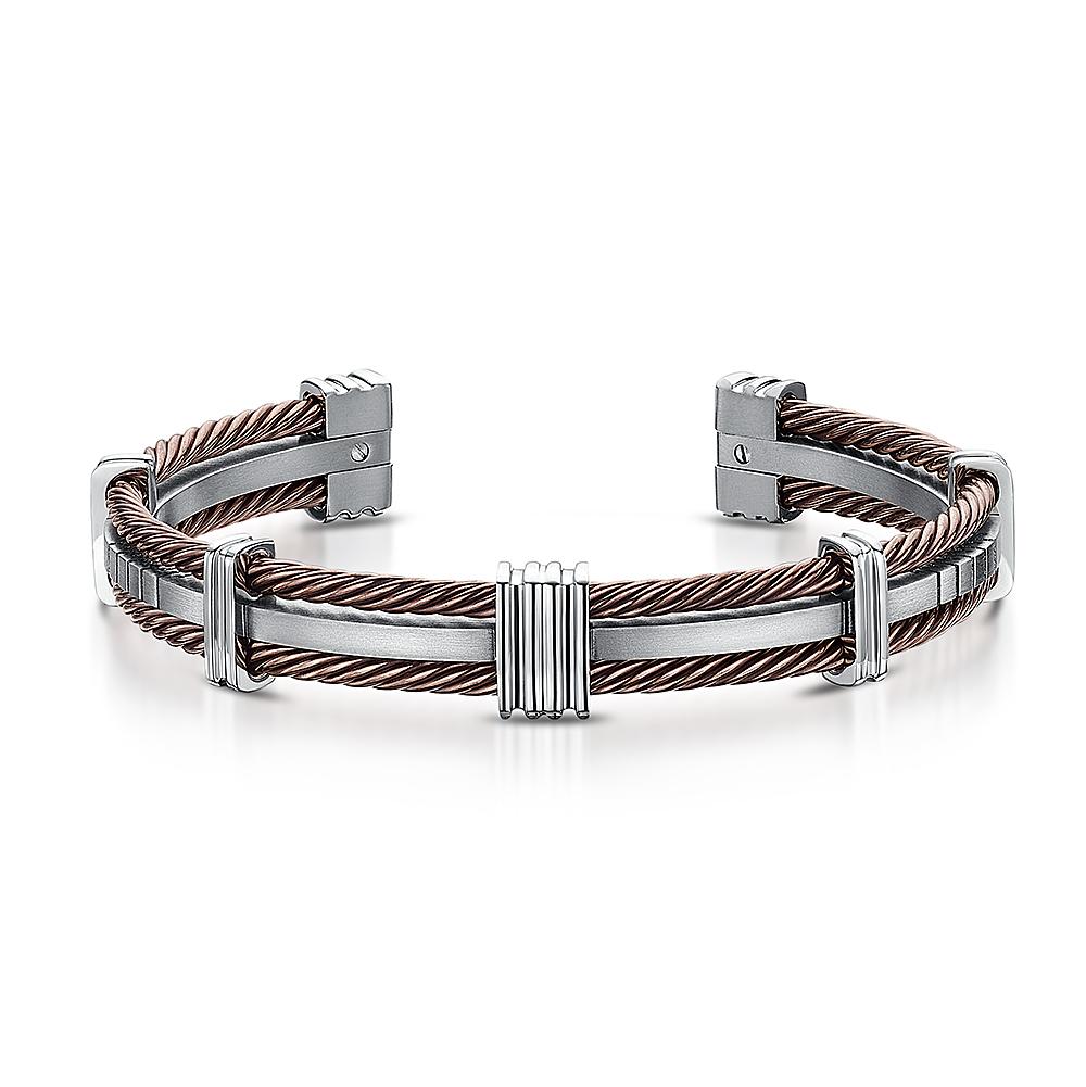 Men's Titanium & Brown Cable Cuff Bangle