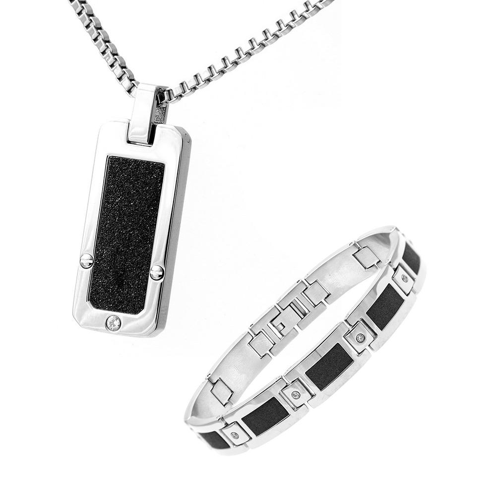 Mens Stainless Steel Black Accent Cz Dog Tag & Bracelet Set