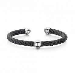Stunning Stainless Steel Black Cable Bangle Bracelet