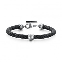 Stunning Stainless Steel & Black Rope CZ Toggle Clasp Bangle