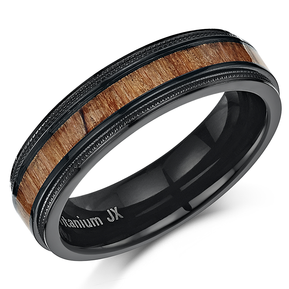 Black Titanium Wood Ring Millgrain Edge Real Genuine Wood 6mm Ring
