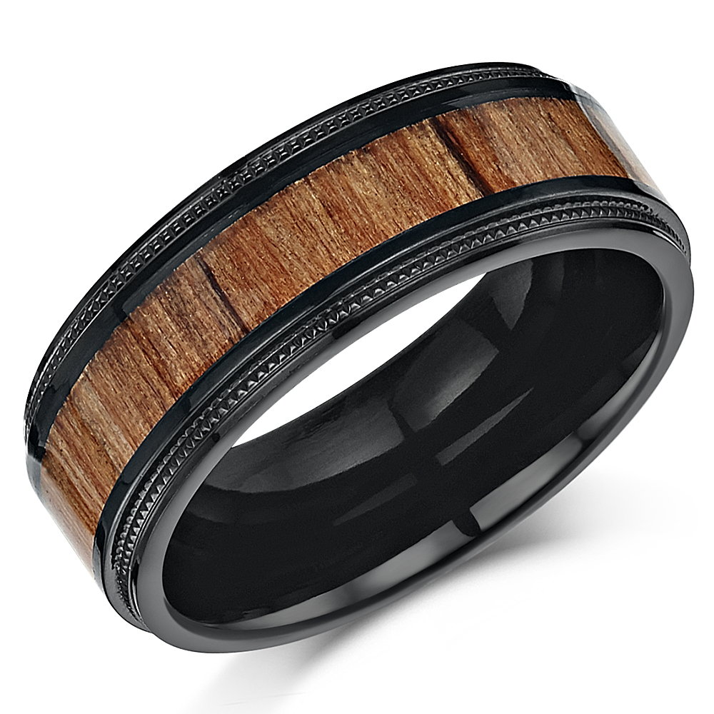 Black Titanium Millgrain Wedding Ring with Real Genuine Koa Wood Inlay 8mm