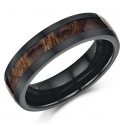 Black Titanium Wedding ring Band Ring with Koa Wood Inlay 6mm