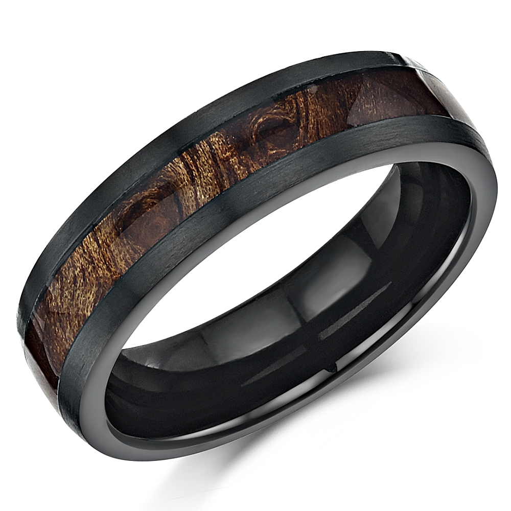 6mm Black Titanium Wedding Ring Band with Koa Wood Inlay Genuine Wood