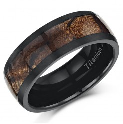 Black Titanium Wedding ring Band Ring with Koa Wood Inlay 8mm