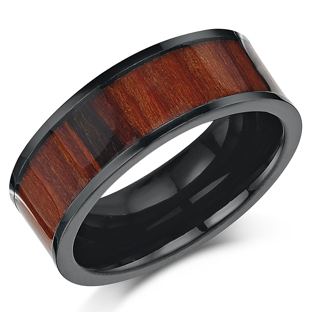 8mm Men's Black Titanium Genuine Koa Wood Unisex Wedding Engagement Ring