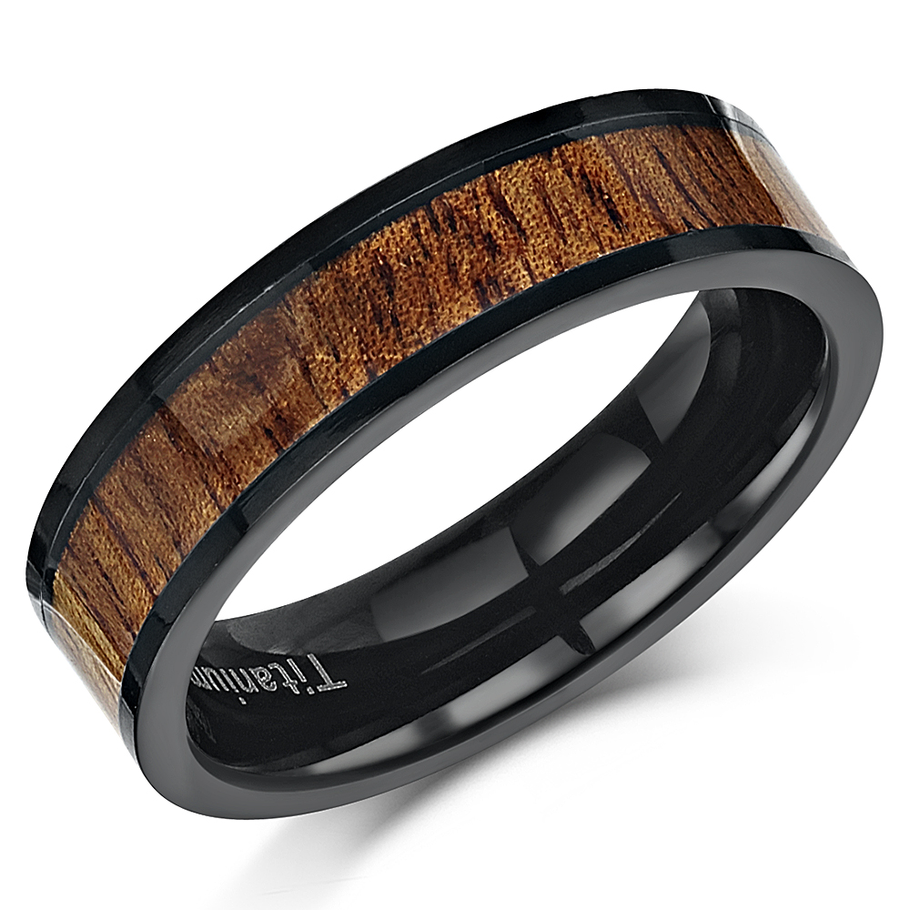 Titanium Wood Inlay Ring 6mm Real Genuine Koa Wood Wedding Engagement Ring