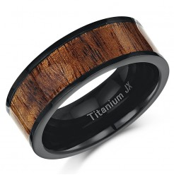 Flat Titanium Wedding Ring Band with Koa Wood Inlay 8mm