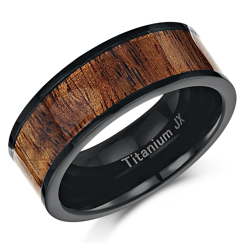 Mens 8mm Black Titanium & REAL Koa Wood Inlay Wedding ring Ring Band