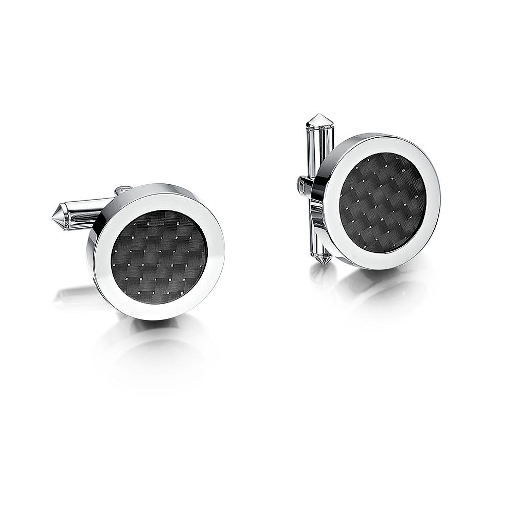 Titanium White Dot Checker Cufflink Round