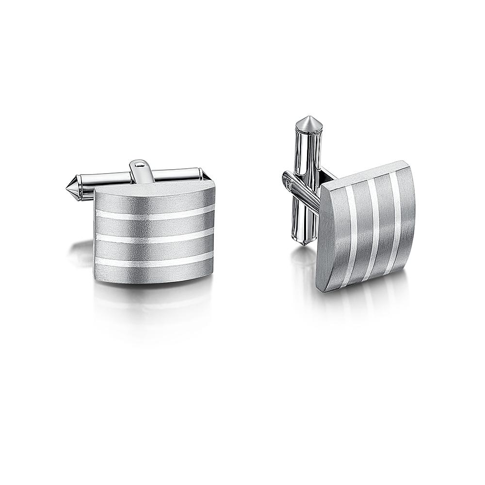 Titanium Silver Stripe Inlay Cufflink
