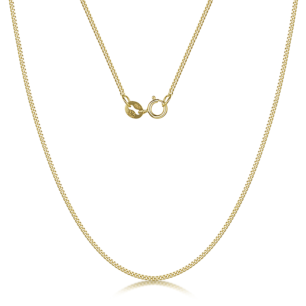 9ct Yellow Gold Diamond Cut Curb Chain 18'' Inch