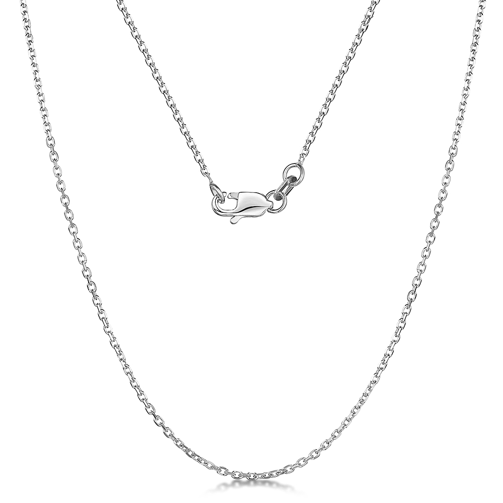 9ct White Gold Diamond Cut Cable 4 Side Chain Necklace 18'' Inch