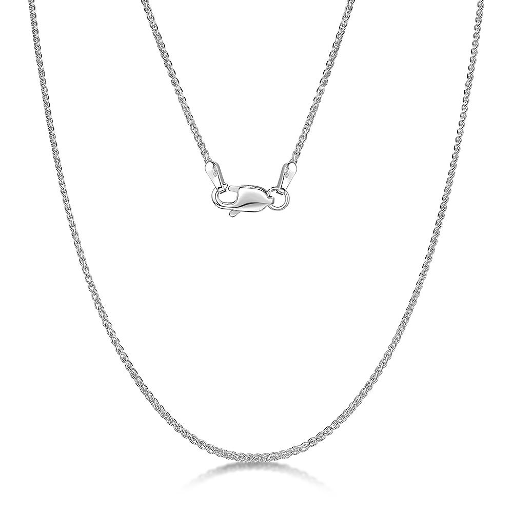 9ct White Gold Double Spiga Chain Neckalce 18'' Inch