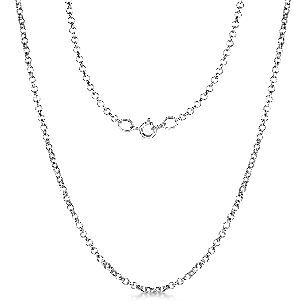 9ct White Gold Round Belcher Chain 18'' Inch