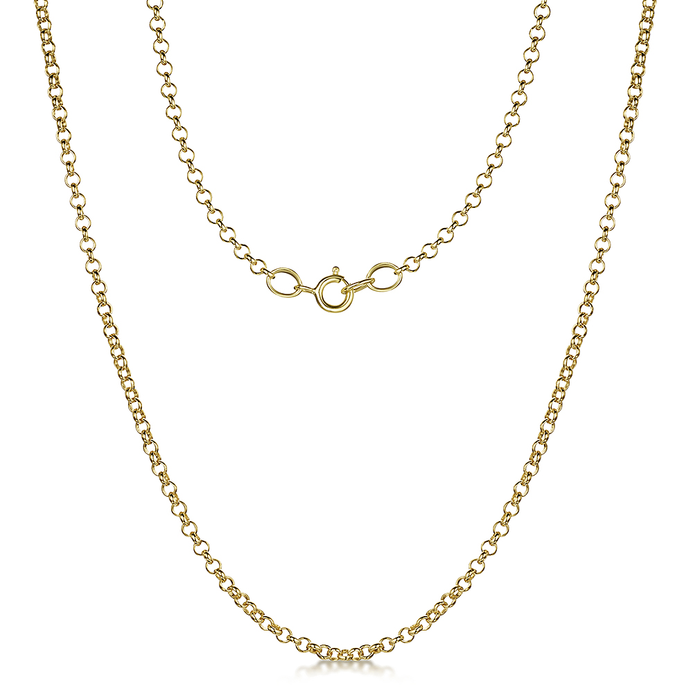 9ct Yellow Gold Round Belcher Chain 18'' Inch