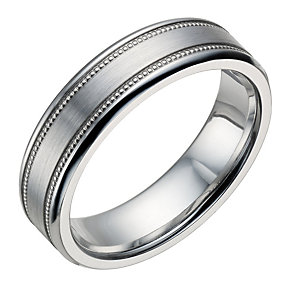 6mm Cobalt Flat Court Double Milgrain Wedding Ring