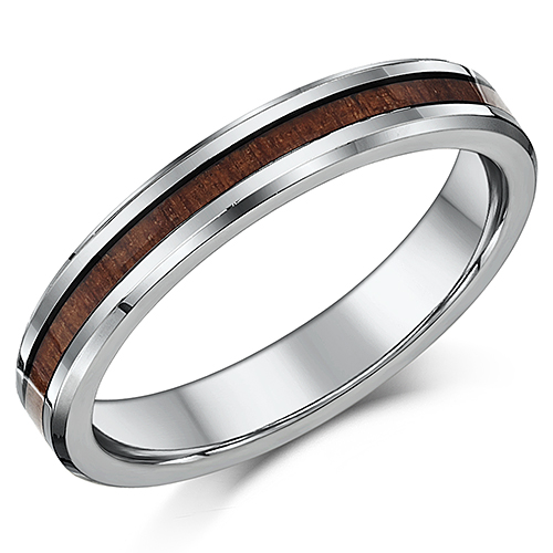 4mm Ladies Titanium Wedding Ring Genuine Wood Grained Inlay Wedding Band