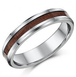 Titanium Wedding Ring Band,With Wood Grained Inlay, 5mm