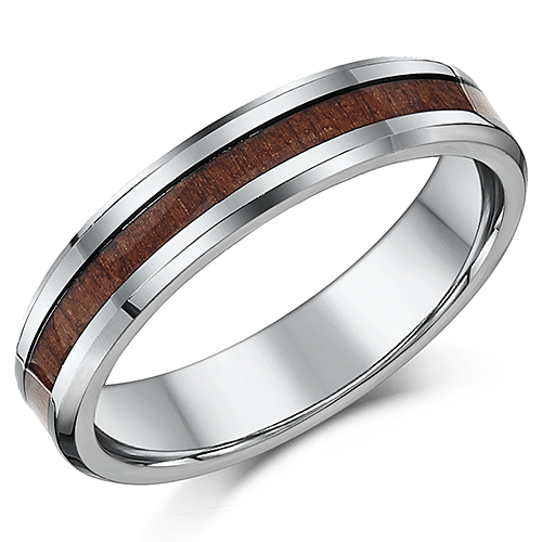 5mm Titanium & Wood Wedding Band Unisex Women's Men's Wedding Ring